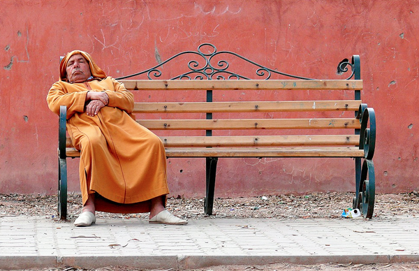Man relaxing in Tangier Morocco