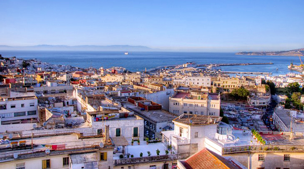 Tangier Rooftops with Mediterranean and Spain